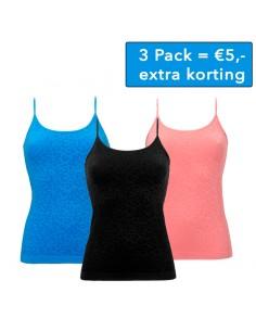 Ten Cate Dames Hemd 3Pack Safari Zwart, Blauw Roze