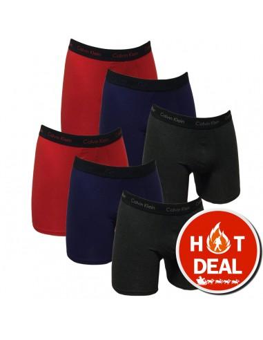 Calvin Klein Ondergoed Super Sale 6Pack Boxer Cotton Stretch Blue Red Grey
