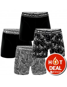 MuchachoMalo Black and White 4Pack Heren Boxershorts
