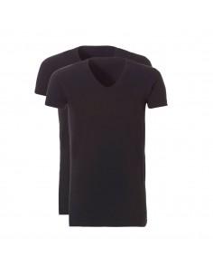 Ten Cate ondergoed Men Basis Long V-shirt 2Pack Zwart