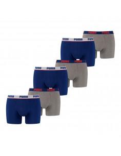 Puma Boxershort 6 pack Basic Stripe Elastic Blue Grey Melange