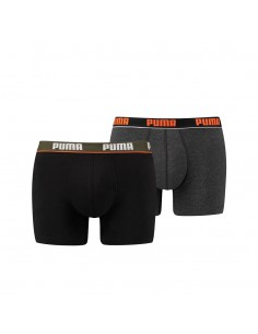 Puma Boxershort 2 pack Basic Stripe Elastic Black Orange