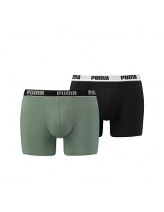 Puma Boxershort 2 pack Basic Stripe Elastic Green Black