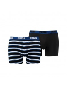 Puma Boxershort 2 pack Retro Stripes Blue Black
