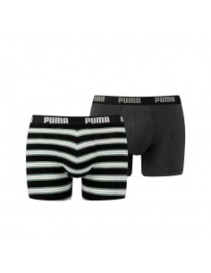 Puma Boxershort 2 pack Retro Stripes Green Black