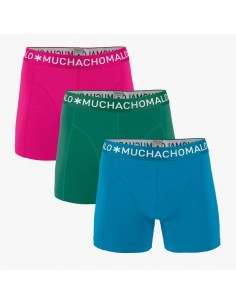MuchachoMalo 3Pack SOLID 278 Pink Green Blue Heren Boxershorts