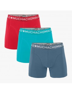 MuchachoMalo 3Pack SOLID 279 Rood Blauw Antraciet Jongens Boxershorts