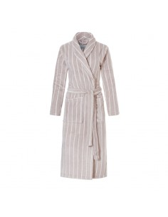 Ten Cate Dames Badjas Stripe Taupe