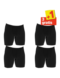Sloggi Men basic Long Boxershort 4 pack Zwart 3+1 Gratis
