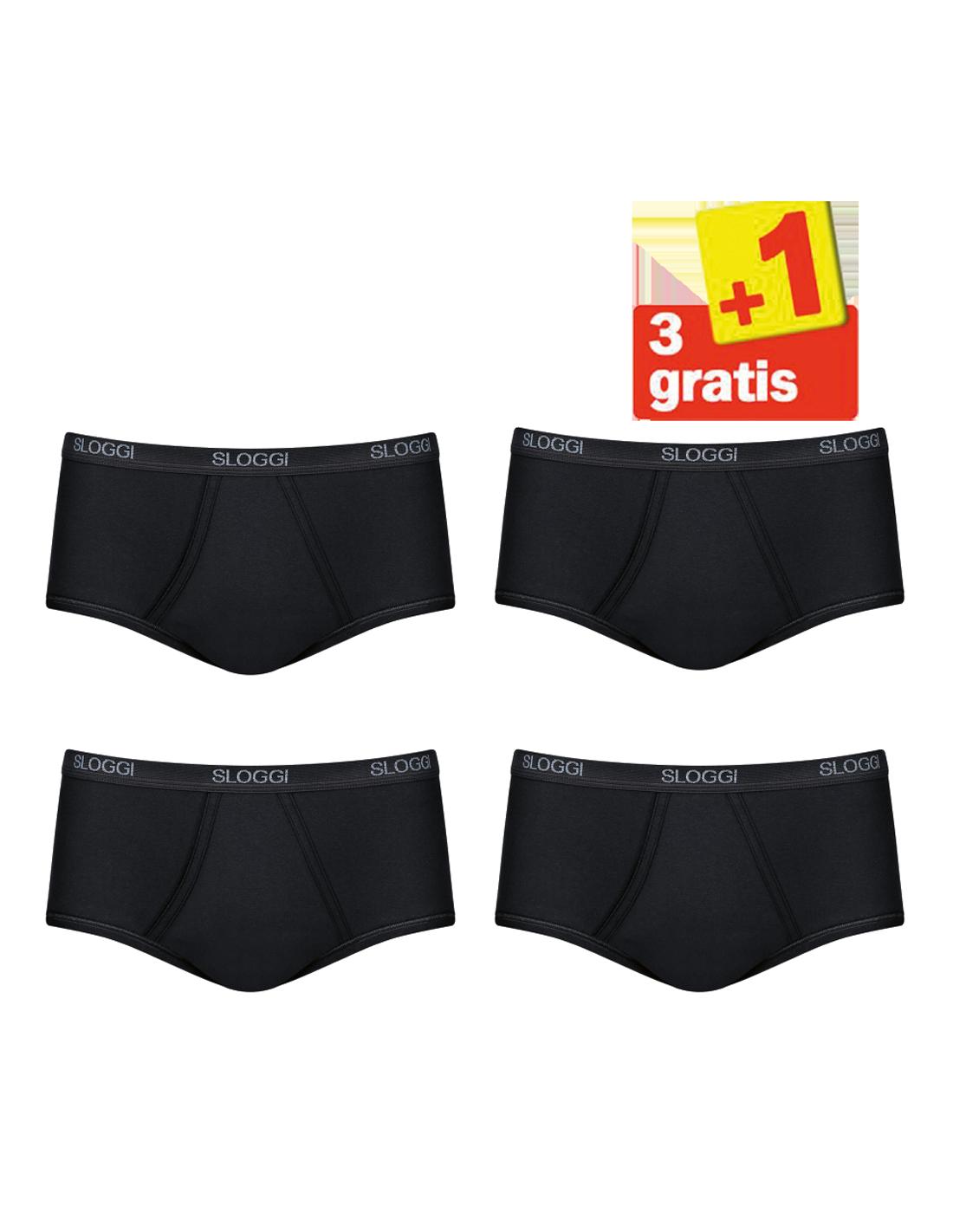 57b7aa74b97 Sloggi Men Basic Maxi 4 pack Zwart 3+1 Gratis
