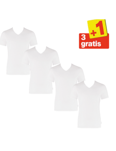 Sloggi Men Shirt Evernew V-Neck 4 pack 3+1 Gratis Wit