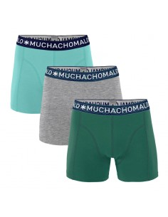 MuchachoMalo 3Pack SOLID 295 Dark Green Grey Melange Light Green Jongens Boxershorts