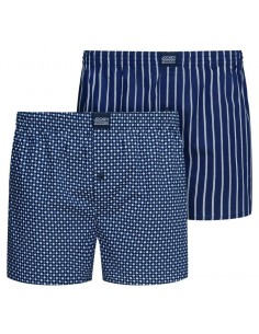 Jockey Boxershort Klassiek Woven POPPLIN 2Pack Navy Stripes and Squares