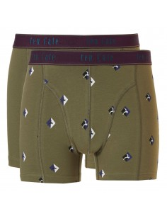 Ten Cate Men Fine Boxershort 2Pack Moss and Moss Squares