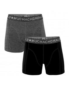 MuchachoMalo 2Pack SOLID 291 Black Dark Grey Jongens Boxershorts