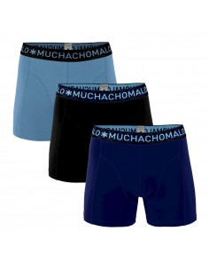 MuchachoMalo 3Pack SOLID 294 Dark Blue Black Light Blue Jongens Boxershorts