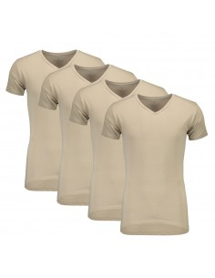 Suaque Long T-Shirt V-Neckshirt 4Pack Khaki
