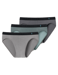 Schiesser Slips 3Pack zwart grijs groen 95/5 boxershort