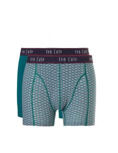 Ten Cate Men Fine Boxershort 2Pack Bricks and Everglade Groen