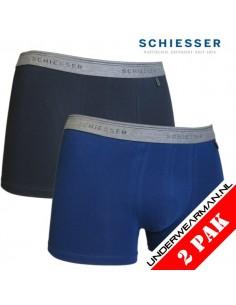 Schiesser Heupshort 2Pack Blue Black 95/5 Boxerhort
