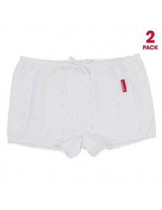 Claesen's Meisjes 2Pack Boxer White Embroidery