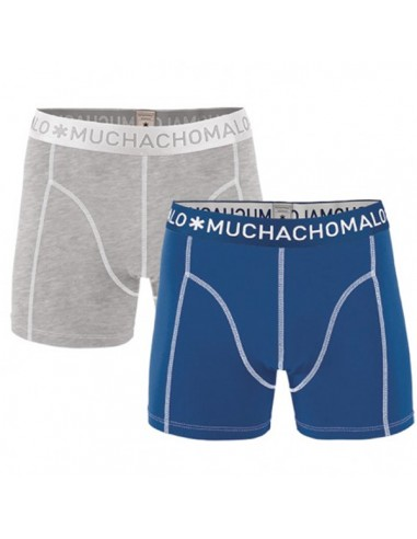 MuchachoMalo Grey Blue Solid Duopak Heren Boxershorts