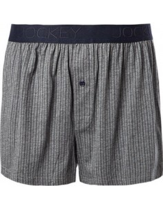Jockey Boxershort Klassiek Woven Stipe Grey Navy