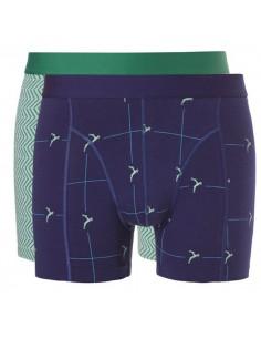 Ten Cate Men Fine Boxershort 2Pack Green Graphic & Navy Deer