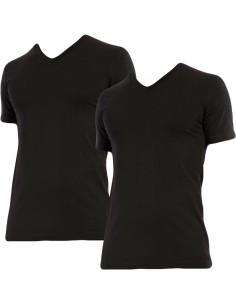 Claesens slim fit t-shirt v-hals 2 pack short sleeve black 95% katoen 5% elastaan