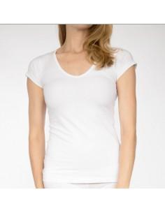 Claesens Dames T-Shirt Wit v-hals