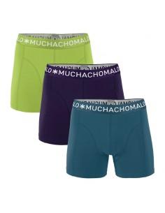 MuchachoMalo 3Pack SOLID 256 Dark Navy Lime Petrol Jongens Boxershorts