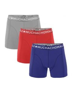 MuchachoMalo 3Pack SOLID 255 Grey Dark Blue Red Jongens Boxershorts