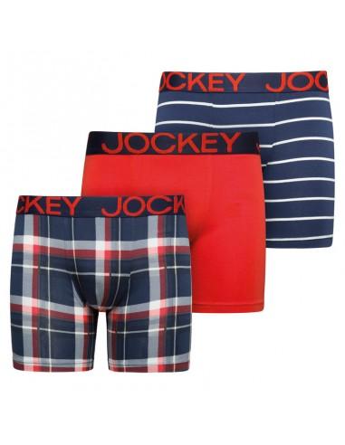 Jockey Boxershorts Cotton Stretch Boxer Trunk 3Pack Dark Iris Red Blue