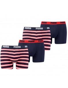 Puma Boxershort 4 pack Retro Stripes Red Blue