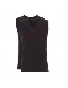 Ten Cate ondergoed Men Basis Deep V-neck Shirt Sleeveless 2Pack Zwart