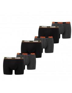 Puma Boxershort 6 pack Basic Stripe Elastic Black Orange