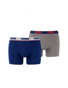 Puma Boxershort 2 pack Basic Stripe Elastic Blue Grey Melange