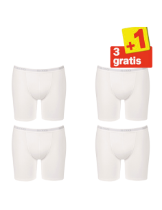 Sloggi Men Basic Long Boxershort 4 pack Wit 3+1 Gratis