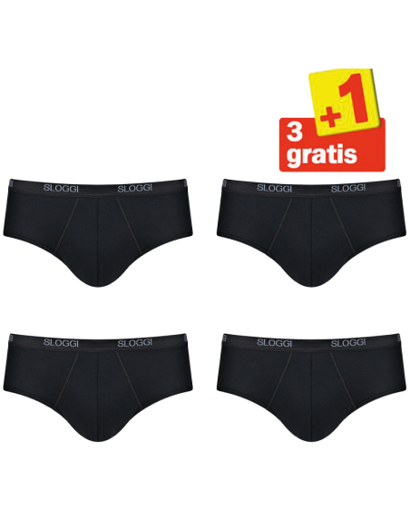 Sloggi Men Basic Midi Zwart 4Pack, 3+1 gratis