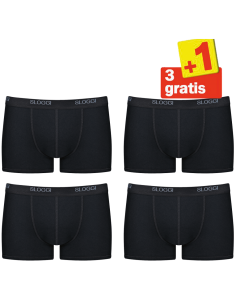 Sloggi Men Basic Short Zwart 4Pack, 3+1 gratis