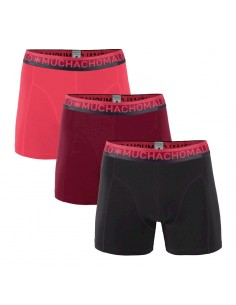 MuchachoMalo SOLID 290 3Pack Aubergine Red Coral Heren Boxershorts