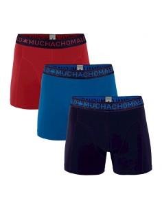 MuchachoMalo 3Pack SOLID 293 Dark Blue Blue Red Jongens Boxershorts