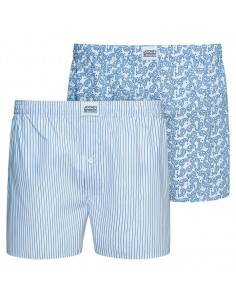 Jockey Boxershort Klassiek Woven POPPLIN 2Pack White Stripes and Squids