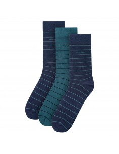 Jockey Casual Sock 3Pack Navy Green Stripes