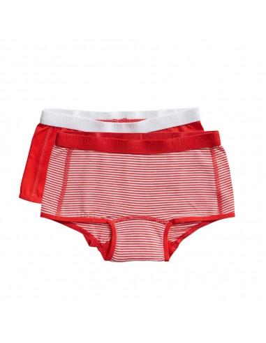 Ten Cate Meisjes Short 2Pack Stripe and Flame Scarlet 2-10Y Girls