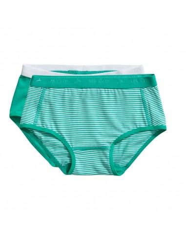 Ten Cate Meisjes Brief Slip 2Pack Stripe and Mint 2-10Y Girls