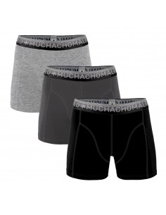MuchachoMalo Solid 286 Black Dark Grey Light Grey 3Pack Heren Boxershorts