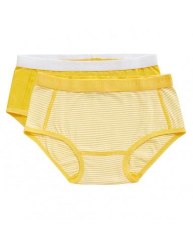 Ten Cate Meisjes Brief Slip 2Pack Stripe and Lemon Chrome 2-10Y Girls