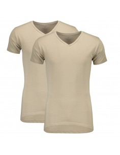 Suaque Long T-Shirt V-Neckshirt 2Pack Khaki