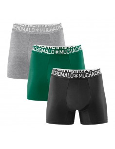 MuchachoMalo 3Pack LIGHT COTTON SOLID Grijs Groen Zwart Heren Boxershorts